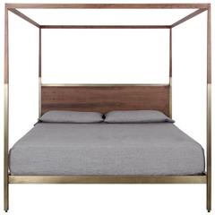 Waterline Canopy Bed by Uhuru Design in Antique Brass and Walnut