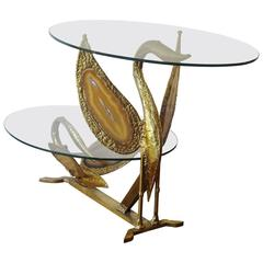 Fantastic Brass and Agate Coffee Table by Henri Fernandez, 1970s