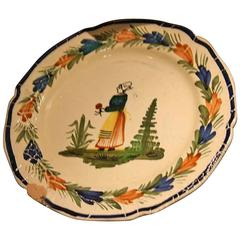 19th Century HB Quimper Faience Plate