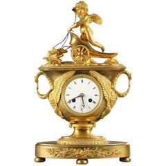 Early 19th Century Empire Mantel Clock with Cupid in a Chariot