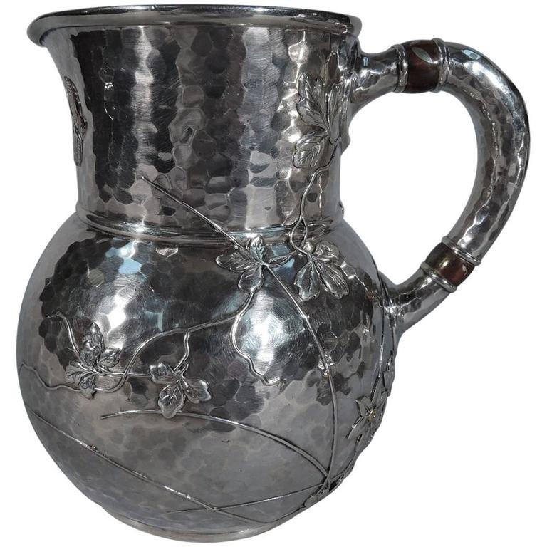 Tiffany Mixed Metal And Hand Hammered Sterling Silver Water Pitcher For