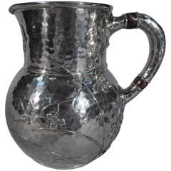 Tiffany Mixed Metal and Hand Hammered Sterling Silver Water Pitcher