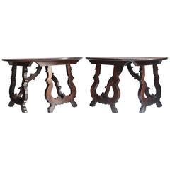 Pair of Walnut Demilune Console Tables, Italy, Tuscany, 17th Century