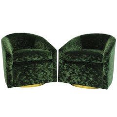 Velvet Green Swivel Chairs