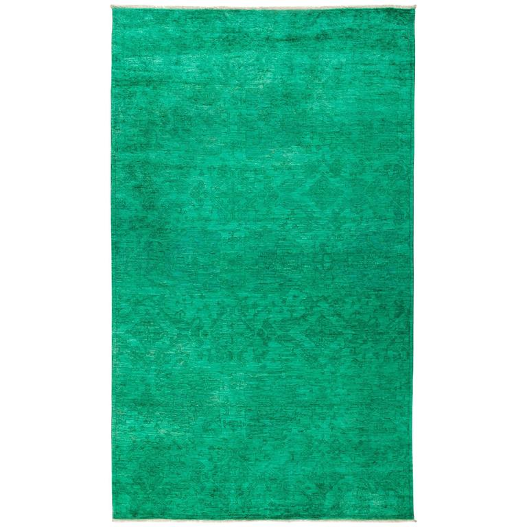 Over Dyed Area Rug In Green For Sale At 1stdibs
