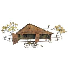 Whimsical Curtis Jere Brutalist Barn and Horse Carriage Wall Sculpture