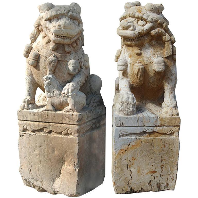 Pair of 19th Century Chinese Limestone Shizi