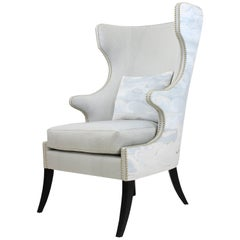 Modern Custom Wingback Chair with Nail Head Accents
