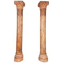 Pair of Orange Tall Indian Teak Wood Pillars