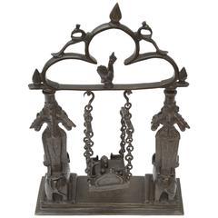19th Century Indian Religious Portable Shrine Shiva Lingam Lakhmi Ganash Parvati