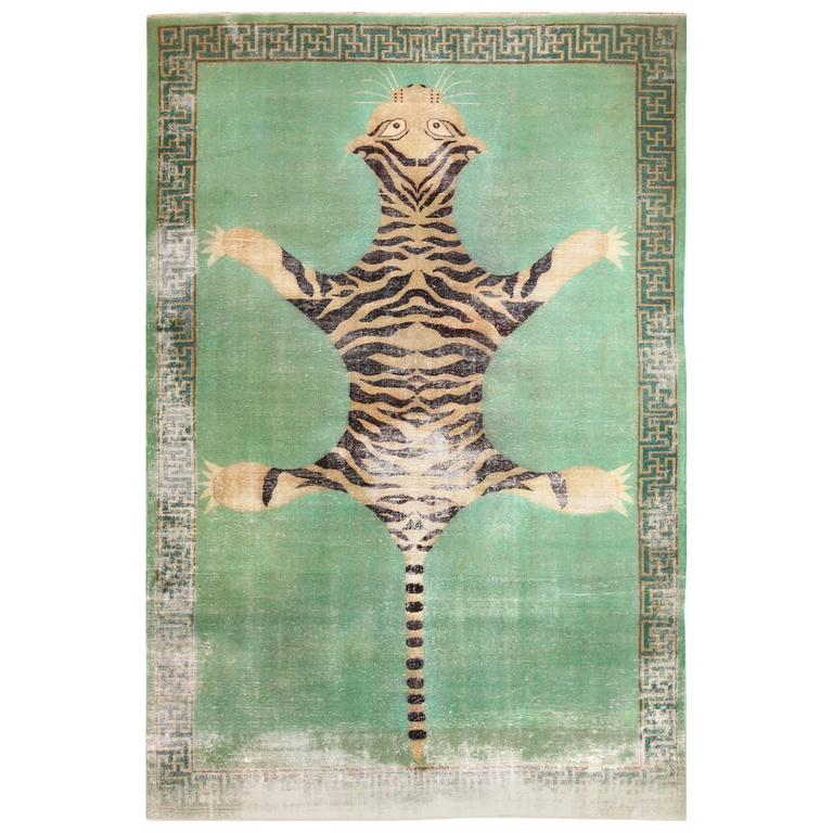 Shabby Chic Tiger Design Antique Indian Rug At 1stdibs