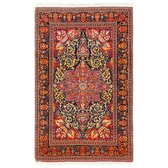 Vintage Dark Background Isfahan Persian Rug