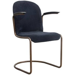 1935, W.H. Gispen for Gispen, Copper, 413R Side Chair in Blue Corduroi Fabric
