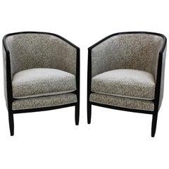 Art Deco Inspired Club Chairs in Cut Velvet