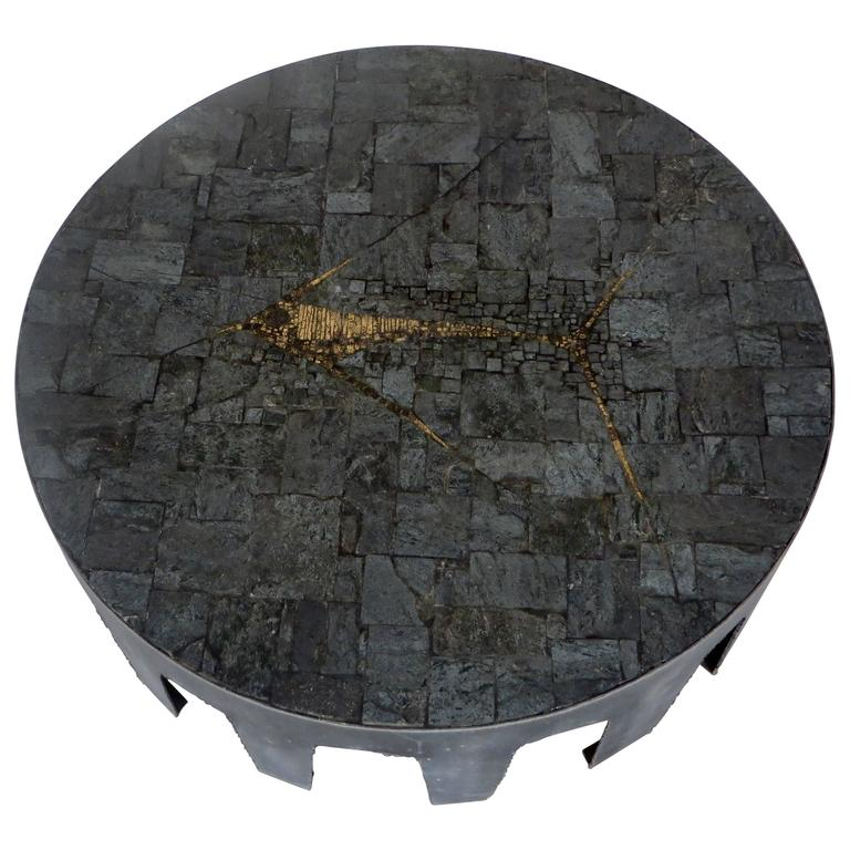 Pia Manu Belgian Round Slate, Pyrite and Iron Coffee Table 1