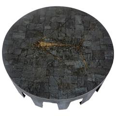 Pia Manu Belgian Round Slate, Pyrite and Iron Coffee Table