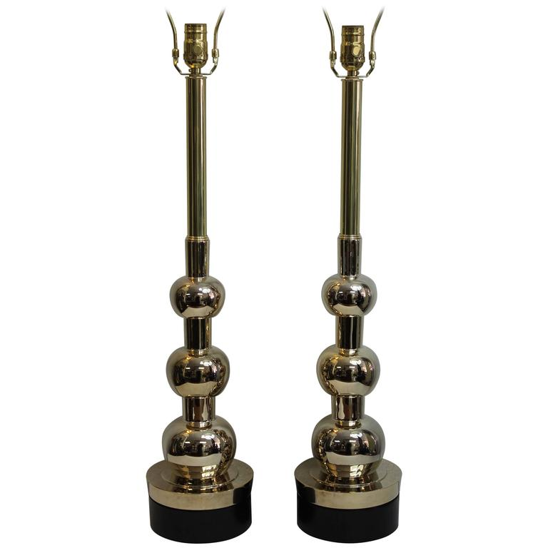 Pair of Bronze/Brass Lamps by Stiffel Lamp Co