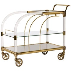 French Mid-Century Three-Tier Lucite and Brass Bar Cart
