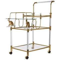 French Mid-Century Lucite and Brass Bar Cart Featuring Elephant Detail