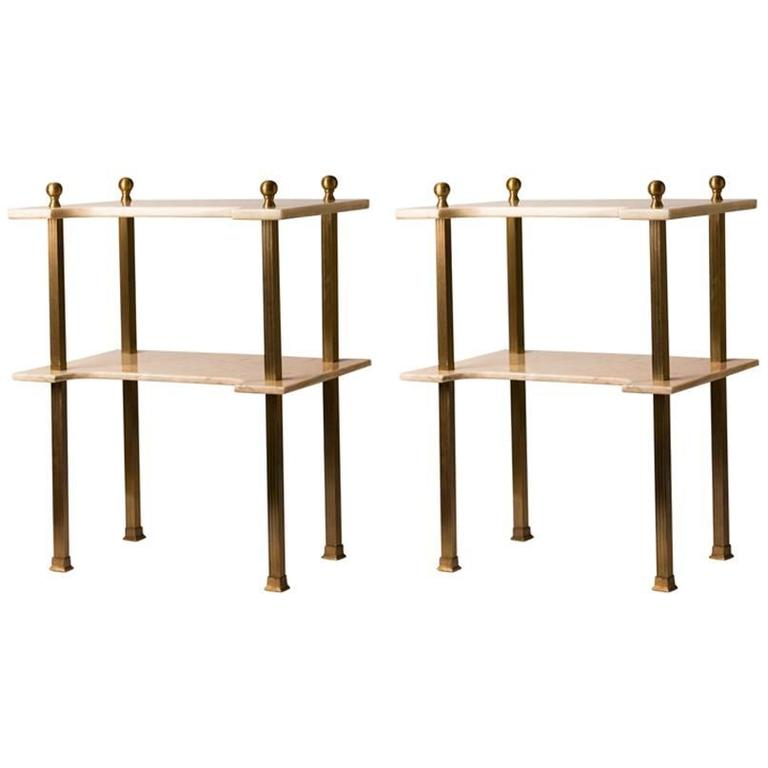 Pair of Two-Tier French Marble and Brass Side Tables
