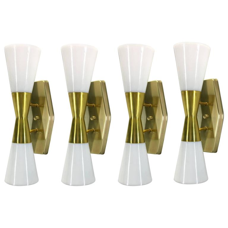 Set Of Four Large Wall Sconces By John C. Virden, 1955 For Sale