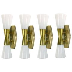 Set of Four Large Wall Sconces by John C. Virden, 1955