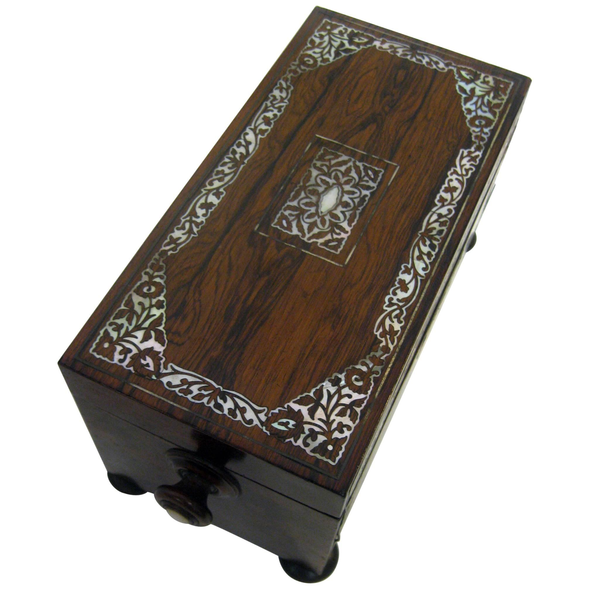 19th century English Rosewood Tea Caddy with Mother of Pearl Inlay