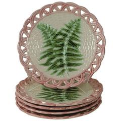 19th Majolica Fern Reticulated Plate Sarreguemines