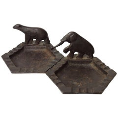 Pair of Edgar Brandt Wrought-Iron Art Deco Ashtrays