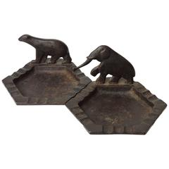 Pair of Edgar Brandt Wrought-Iron Art Deco Ashtrays