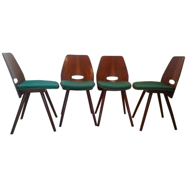 Set of Four Art Deco Dining Chairs in Beech For Sale