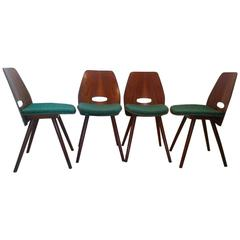 Set of Four Art Deco Dining Chairs in Beech