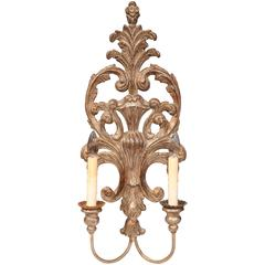 Large Italian Hand-Carved and Silver Plated Two-Light Single Sconce