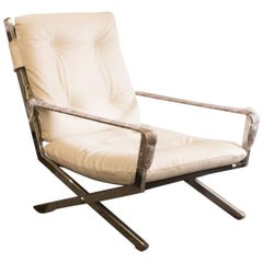 Mid-Century Italian Chrome, Leather and Vinyl Armchair
