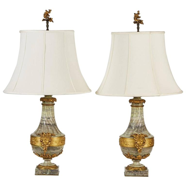 Pair Of 19th Century, French Green Marble Lamps With Gilt Mounts And  Finials For Sale