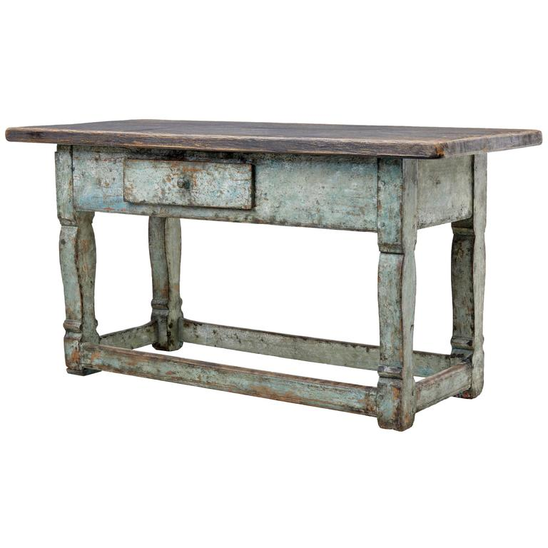 19th Century Painted Swedish Pine Kitchen Table
