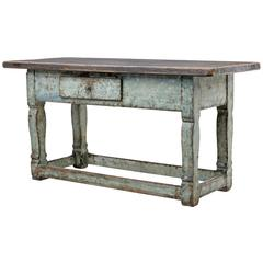 19th Century Painted Swedish Pine Kitchen Table