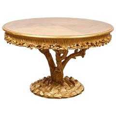 Tree Trunk Table with Gold Leaf by Erika Brunson