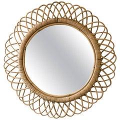 Mid-Century French Circular Bent Bamboo Mirror