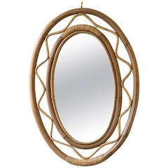Mid-Century French Bent Bamboo Mirror
