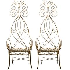 Pair of French Metal Fantasy Chairs