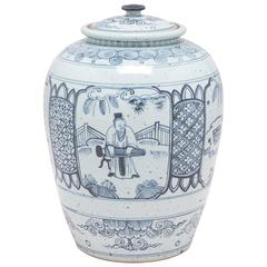 Chinese Indigo Blue and White Scholars Scene Ginger Jar