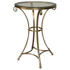 Neoclassic Brass Round Gueridon Table with Paw Feet
