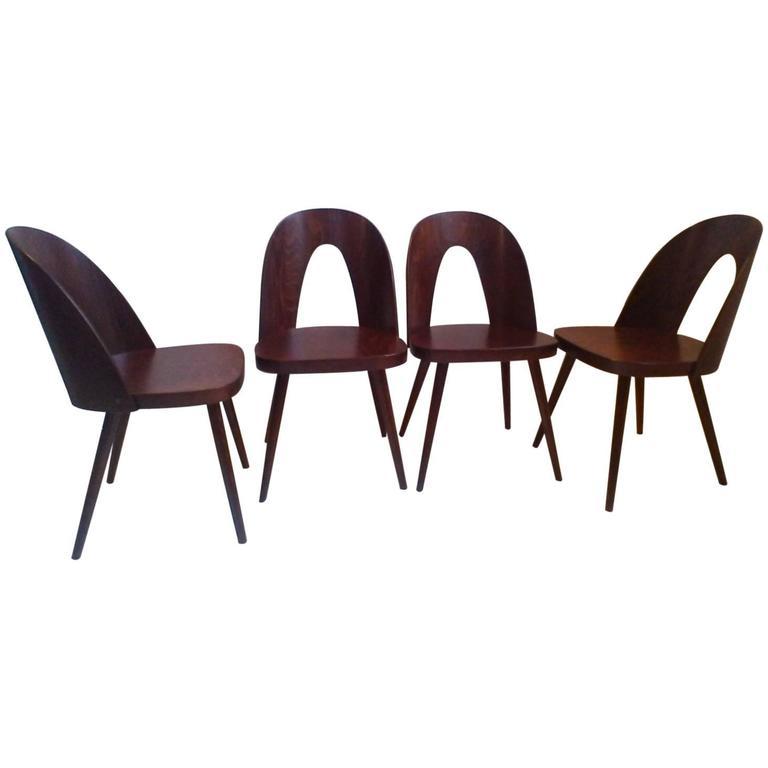 set of four dining plywood chairs tatra antonin suman1960s 1