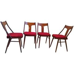Set of Four Art Deco Armchairs in Walnut and Beech