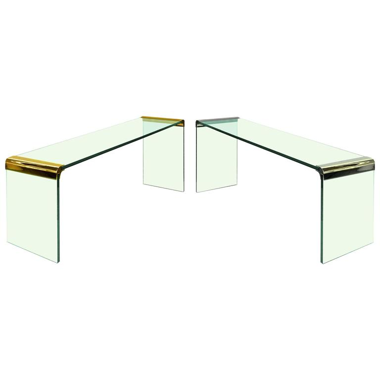 Waterfall Console Tables by Leon Rosen for Pace, Gold or Nickel