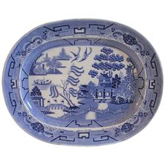 19th Century Staffordshire Blue Willow Platter