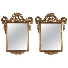 Pair of Carved and Gilded Wood Mirrors