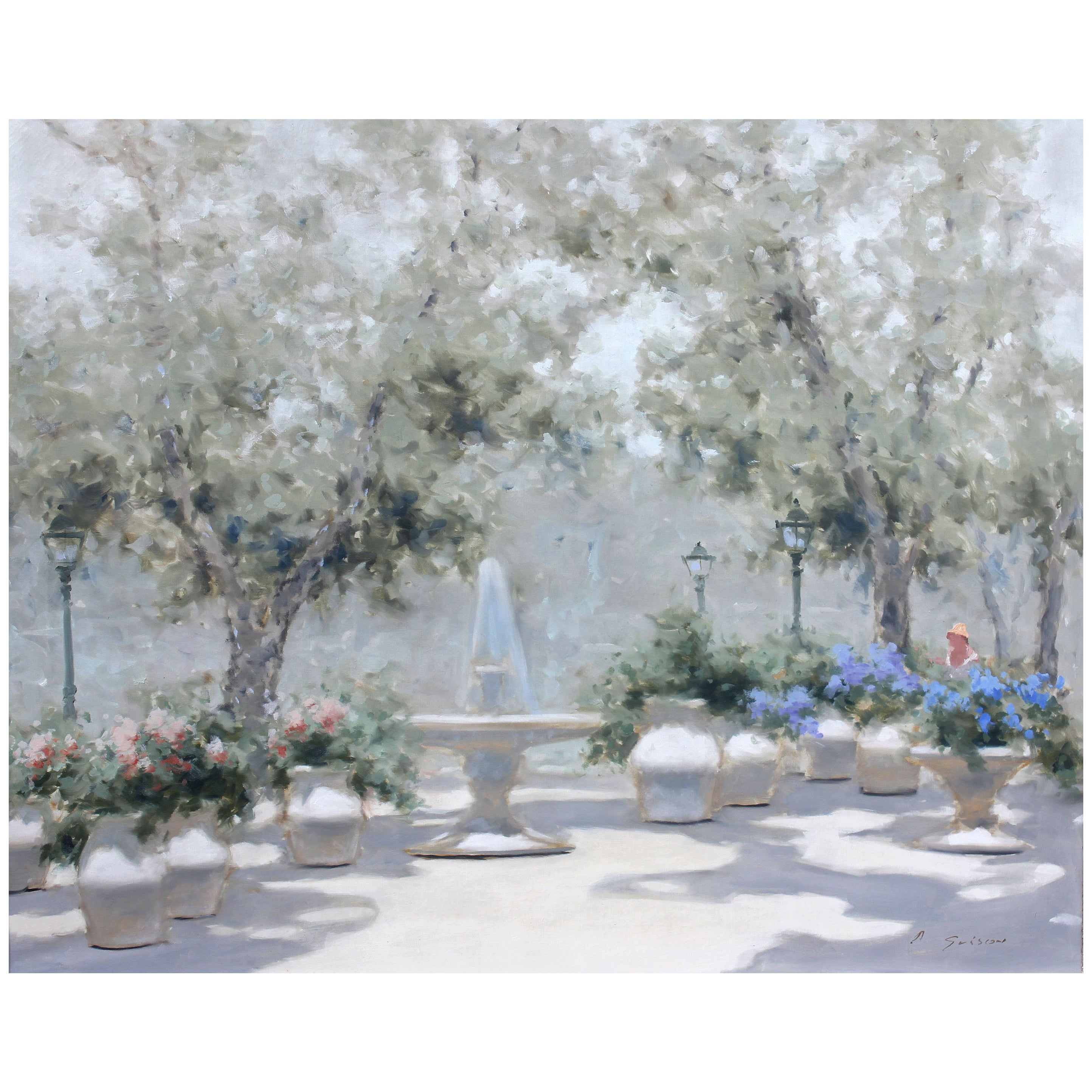 Impressionist Park Scene by Andre Gisson Oil Painting