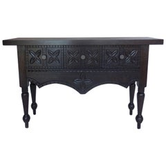 Dos Gallos Custom Carved Console with Drawers
